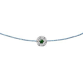 Choker Δούκισσα Σμαράγδι 18K χρυσό και διαμάντια, για Thread - Λευκό ς Χρυσός, OceanBlue