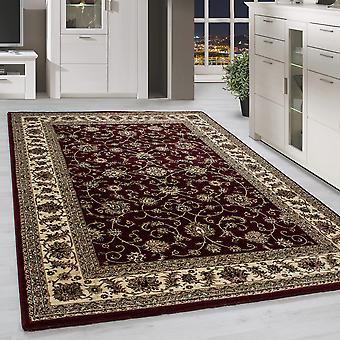 Klassik Orient Teppich Edle Bordüre Traditionelle Wohnzimmerteppich Rot Beige