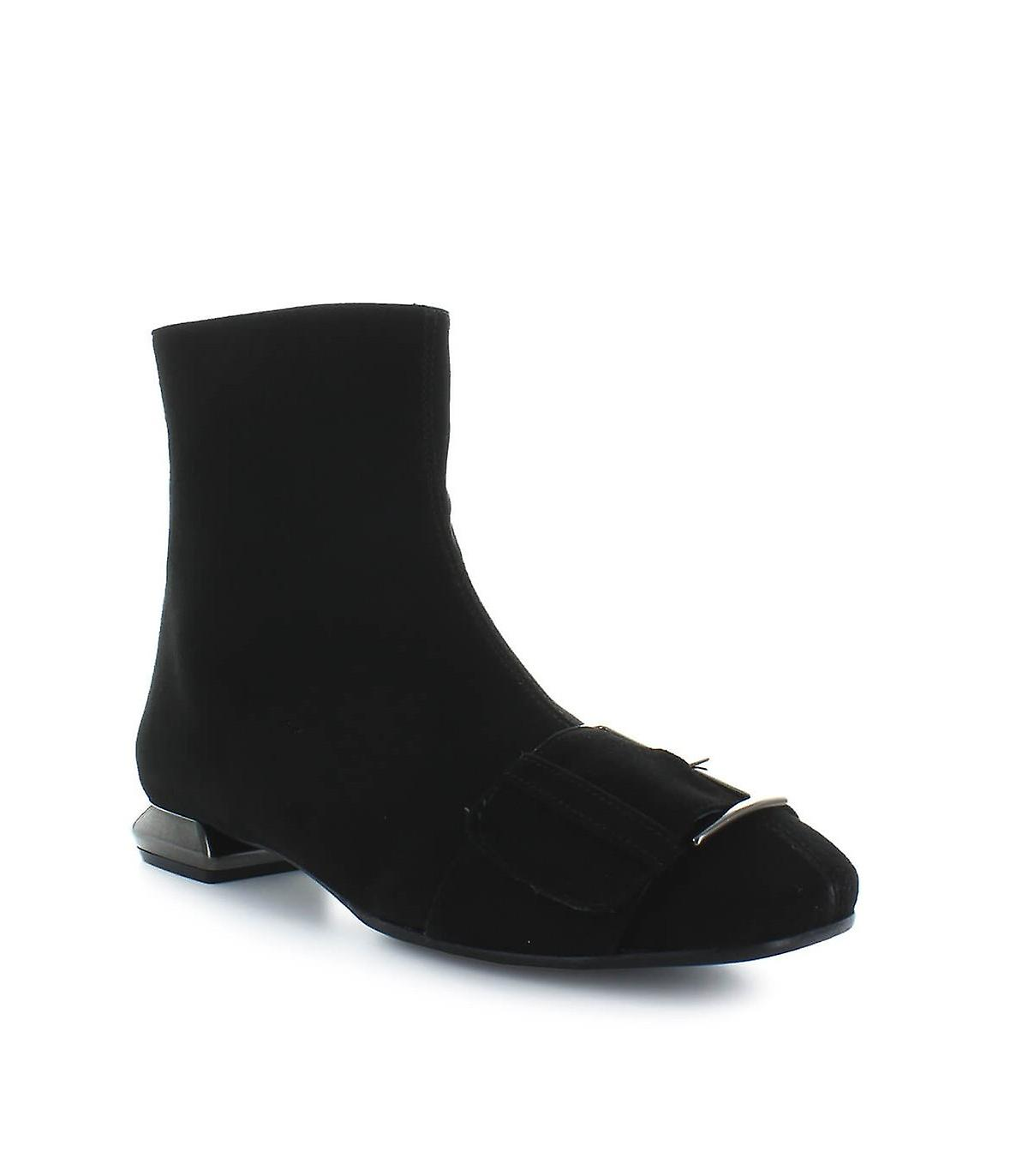 NICOLE BONNET BLACK SUEDE ANKLE BOOTS WITH BUCKLE
