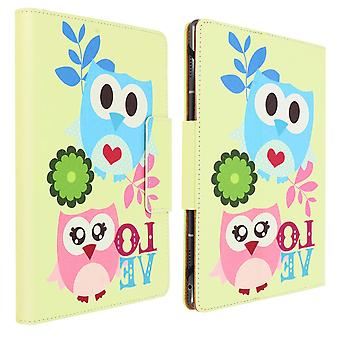 """Folio Cover with Card Slots & Stand for 7 / 8"""" Tablet- Bird Design- Multi-Color"""