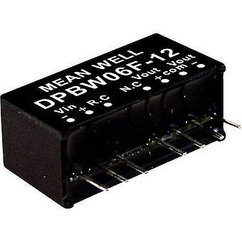 يعني جيدا DPBW06F-15 DC / DC محول (وحدة) 200 mA 6 W لا. من النواتج: 2 x
