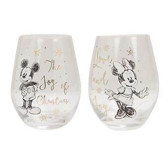 Disney Mickey & Minnie Collectible Set of 2 Glasses