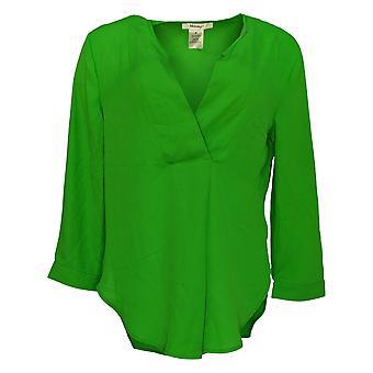 Masseys Women's Top Basic Layering Blouse 3/4 Sleeve Green