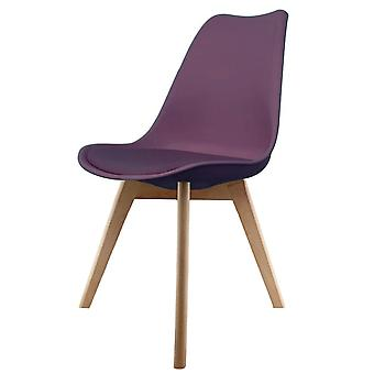Fusion Living Eiffel Inspired Aubergine Purple Plastic Dining Chair With Squared Light Wood Legs
