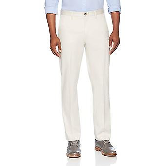 BUTTONED DOWN Men's Straight Fit Stretch Non-Iron Dress Chino Pant, Stone, 33W x 32L