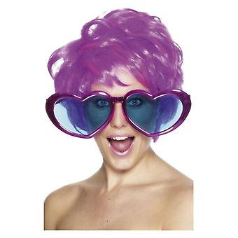 Jumbo Heart Shaped Specs, Assorted Colours, Metallic Fancy Dress Accessory