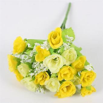 Otoño 15heads Bouquet Pequeño Bud Seda Rosas Bract Flor Artificial Diy Boda
