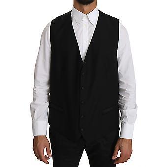 Dolce & Gabbana Black Wool  Waistcoat Formal Gilet Vest -- TSH3438064