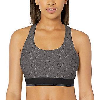 Essentials Women's Medium-Support Racerback Sports Bra, Dark Grey Heat...