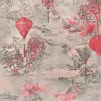 Asian Fusion Lantaarns Behang Roze ALS Creatie 37466-2