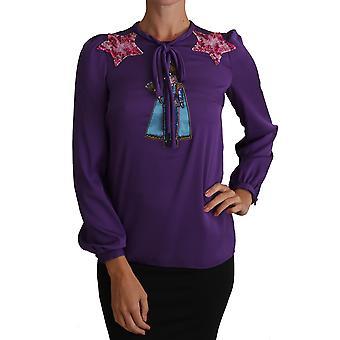 Dolce & Gabbana Mor Bluz Prens Peri Masalı Süslenmiş Top TSH2755-36