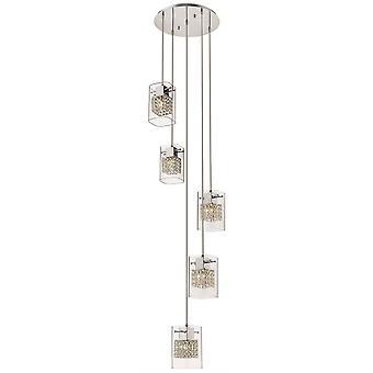 5 Light Spiral Ceiling Cluster Pendant Chrome Glass Round, G9