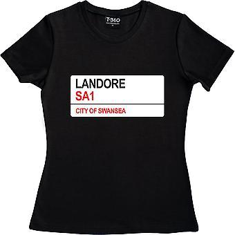 Landore SA1 Road Sign Negro Mujer's Camiseta