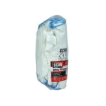Scan Witte PU Geco Coated Handschoenen - Groot (maat 9) (Pack 12)