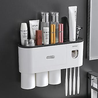 Wall-mounted Magnetic Toothbrush Holder Waterproof Squeezer For Toilet Bathroom