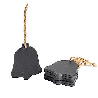 Christmas Tree Hanging Slate Decoration - Bell Design x 6