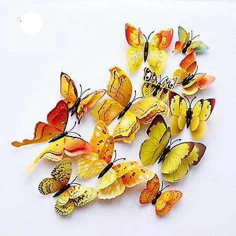 12pcs doble capa 3d mariposa pared pegatina