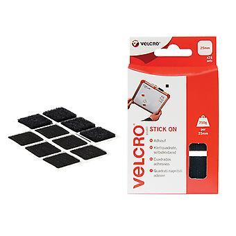 VELCRO Brand VELCRO Brand Stick On Squares 25mm Black Pack of 24 VEL60236