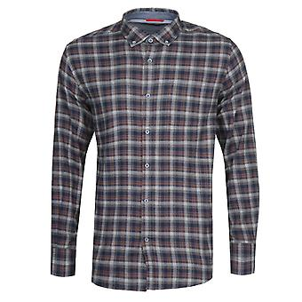 Armor Lux Chemise Navy & Brown Checked Shirt