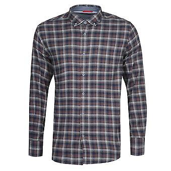 アーマーラックス ケミス ネイビー&ブラウン チェックシャツ