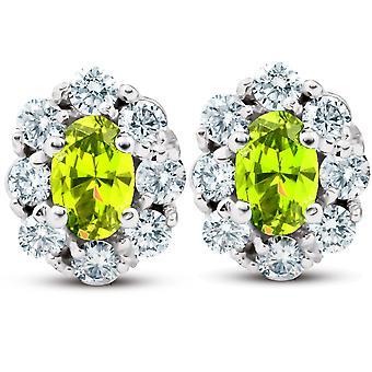 3 Ct Citrine & الماس هالو ترصيع 14k الذهب الأبيض