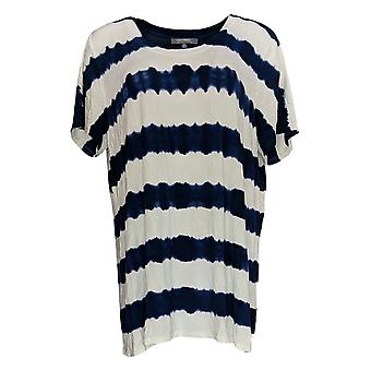 Lisa Rinna Collection Women's Top Short Sleeve Tie-Dye White A292285