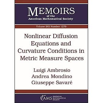 Nonlinear Diffusion Equations and Curvature Conditions in Metric Measure Spaces (Memoirs of the American Mathematical Society)