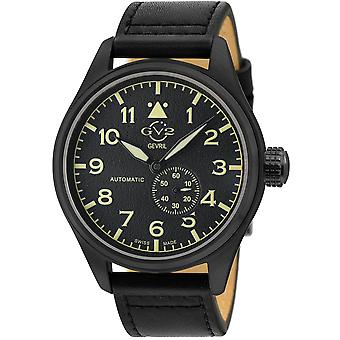 GV2 Men's Aeuronautica Black Dial Black Calfskin Leather Watch