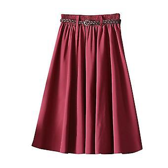 Retro Lato Kobiety Elastyczne spódnice z wysokim stanem z paskiem Casual Fashion Solid
