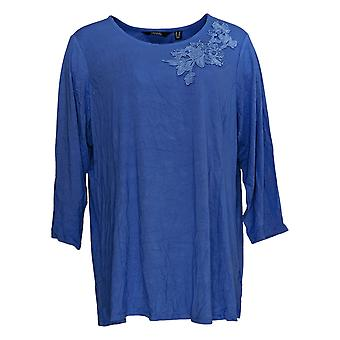 Dennis Basso Mujeres's Plus Top Soft Touch Tunic w / Applique Azul A349306