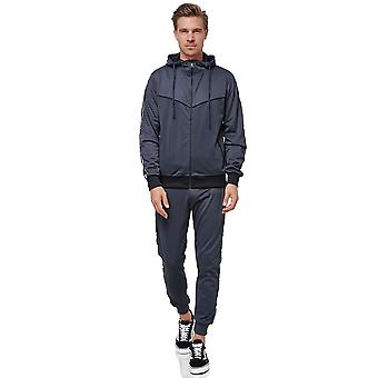 Mens Tracksuit Reflector Stripes Basic Casual Jogging Sports Suit Fitness Zipper