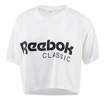 Reebok Classic Short Sleeve Crew Womens White Crop Tee Top T-Shirt BR7307 RW16