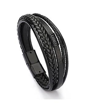 Magnetic-clasp Leather Bracelet