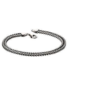 Oxidised zorro cadena de cola de plata de ley hombres's brazalete
