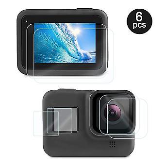 Afocuz compatto 6 pack vetro temperato protezione schermo sportivo film fotocamera pulita per gopro eroe 8 nero