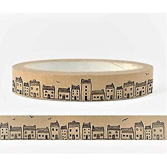 East of India Sticky Craft Tape brown with HOUSES x 50m