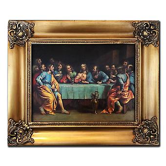 Last supper, Leonardo da Vinci, 30x40 cm with frame in gold