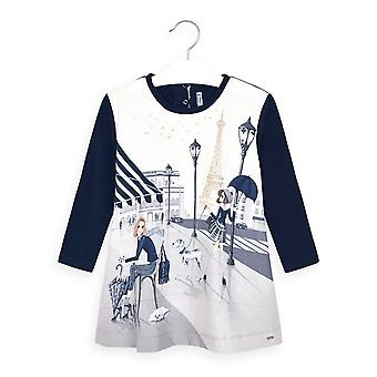 Mayoral girls navy paris print dress 4987/19