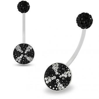 Multi Crystals مرصعة بالجواهر دوامة شفافة BioFlex مع كريستال Ferido الكرة أعلى الحمل حلقة البطن