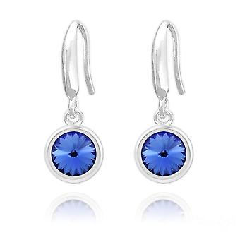 Silver sapphire earrings  with swarovski crystal