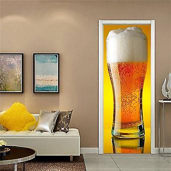 Wine Glass Design Door Decoration Wallpaper 3d Wall Sticker