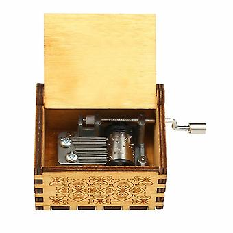 Vintage wooden theme song music box hand-operated carved engraving case