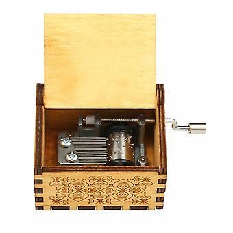 Vintage houten thema lied muziekdoos met de hand bediend gesneden graveer geval