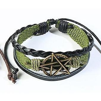 Pentagrama verde pulsera hecho a mano para hombres en tela y cuero