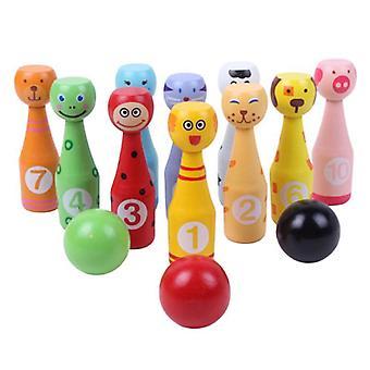 13pcs/set Wooden Bowling Set, 10 Pins 3 Ball Animal Bowling Game