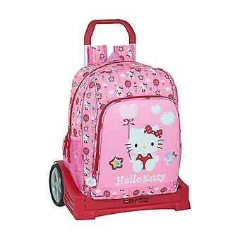 Skola ryggsäck med hjul Evolution Hello Kitty Ballong Rosa