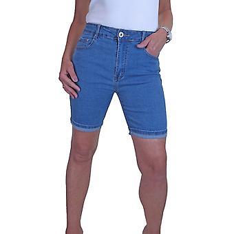 Women's High Waist Slim Fit Stretch Denim Shorts Mid Blue