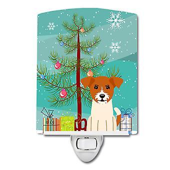 Caroline schätze Frohe Weihnachtsbaum Jack Russell Terrier Keramik Nachtlicht, 6 x 4, Multicolor