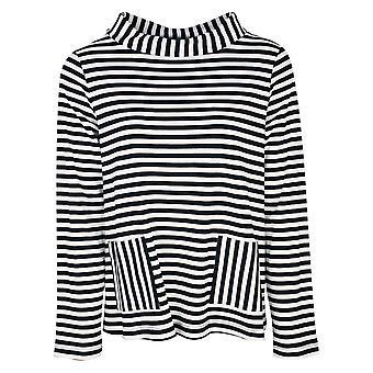 Latte Black & White Stripe Wide Polo Neck Long Sleeve Breton Inspired Top