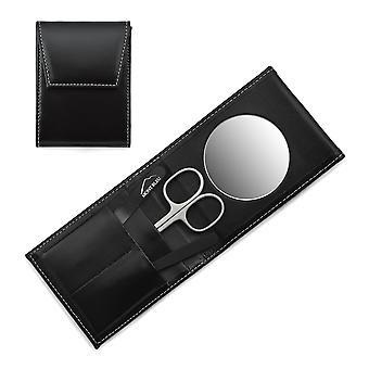 Mont Bleu 3 pièces Manucure Set in a Premium Black Leather Case with Mirror &Crystal Nail File - Noir
